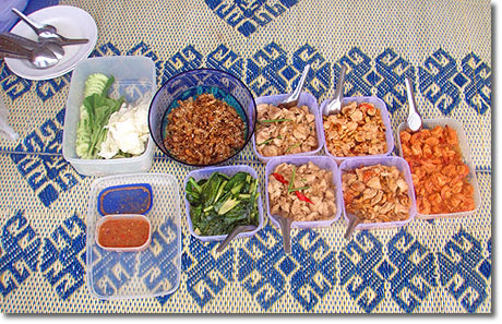 Thai food in Phang Nga Bay.